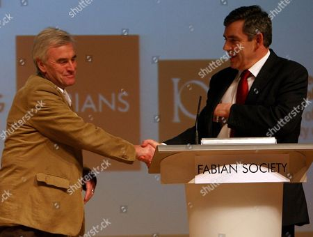 The three men standing for the Labour Party Leadership Gordon Brown, Michael Meacher and John McDonell met in a head to head debate  -   John McDonell and Gordon Brown during the debate