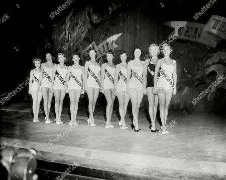 Stock Picture of Ten finalists in the Miss America pageant line up on stage in Atlantic City, N.J., on . From left: Alabama, Marilyn Jean Tate; California, Lee Ann Meriwether; Chicago, Regina Janine Dombeck; District of Columbia, Linda Maud Weisbred; Florida, Ann Gloria Daniel; Michigan, Janice Hutton Somers; Ohio, Barbara Maxine Quinlan; Pennsylvania, Barbara Sue Nager; South Carolina, Polly Rankin Suber; and Tennessee, Gerry Johnson