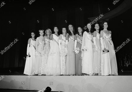 Donna Connelly, Judy Adams, Claudia Turner, Margaret Walker, Christine McClamroch, Katherine Karlsrud, Mary Johanna Harum, Mary Hart, Phyllis George, Karen Johanna Johnson, Karen Johanna Johannson, Lisa Donovan Top ten, from which the new Miss America will be chosen, line up for judges inspection in Atlantic City, N.J., . From left: the Misses Arkansas, Donna Connelly; Maine, Karen Johnson; South Carolina, Claudia Turner; Pennsylvania, Margaret Walker; Mississippi, Christine McClamroch; New York, Katherine Karlsrud; South Dakota, Mary Harum; Texas, Phyllis George; Oklahoma, Judy Adams; Florida, Lisa Louise Donovan
