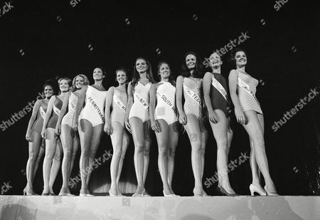Donna Connelly, Judy Adams, Claudia Turner, Margaret Walker, Christine McClamroch, Katherine Karlsrud, Mary Johanna Harum, Mary Hart, Phyllis George, Karen Johanna Johnson, Karen Johanna Johannson, Lisa Donovan Ten of the nation's top beauty queens, chosen from the 50 young women who want to be Miss America, line up in swim suits in Atlantic City, N.J., . From left: the Misses Arkansas, Donna Connelly; Oklahoma, Judy Adams; South Carolina, Claudia Turner; Pennsylvania, Margaret Walker; Mississippi, Christine McClamroch; New York, Katherine Karlsrud; South Dakota, Mary Johanna Harum; Texas, Phyllis George; Maine, Karen Johanna Johnson; Florida, Lisa Donovan