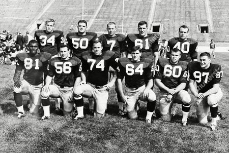 Shown are members of the 1966 Notre Dame football team's defensive unit. Front row, from left, are end Alan Page of Canton, Ohio; linebacker Dave Martin of Roelond Park, Kansas; tackle Kevin Hardy of Oakland; tackle Pete Duranko of Johnstown, Pa.; linebacker Mike McGill of Hammond, Ind.; end Tom Rhoads of Cincinnati. Back row, from left: halfback Dan Harshman of Toledo, Ohio; linebacker John Pergine of Norristown, Pa.; safety Tom Schoen of Euclid, Ohio; linebacker captain Jim Lynch of Lima, Ohio; halfback Tom O'Leary of Columbus