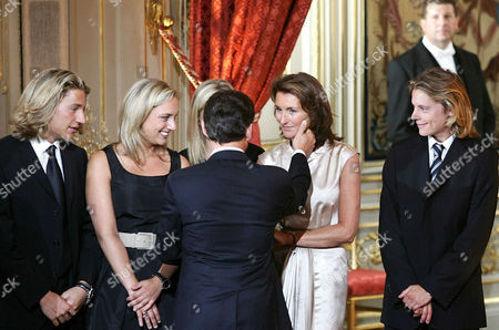 Nicolas Sarkozy inauguration ceremony, accompanied by wife Cecilia Sarkozy, son Louis Sarkozy, Cecilia's daughters Judith Martin and Jeanne-Marie Martin and Nicolas' sons Jean Sarkozy and Pierre Sarkozy