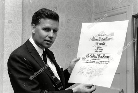 """Stock Image of Gilroy Playwright Frank D. Gilroy poses with his Drama Critics Circle Award in New York City on . The dramatist won best play in 1964-65 for """"The Subject Was Roses"""