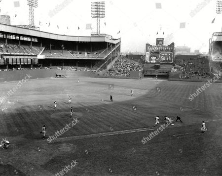 Rhodes Dusty Rhodes of the New York Giants is thrown out at first base for final out in Giants' last game at the Polo Grounds in New York City, . The San Francisco-bound Giants lost to the Pittsburgh Pirates, 9-1, in the finale which drew 11,606 persons