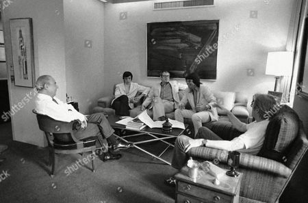 """Richard Rodgers At a conference in New York on officer Richard Rodgers, left, discusses with colleagues the forthcoming production of his 38th Broadway musical. The show is """"Two By Two,"""" and the other contributors are, from left, Joe Layton (Choreography), Peter Stone (Story), Martin Charnin (lyrics) and Danny Kaye, who will play the leading role of Noah"""