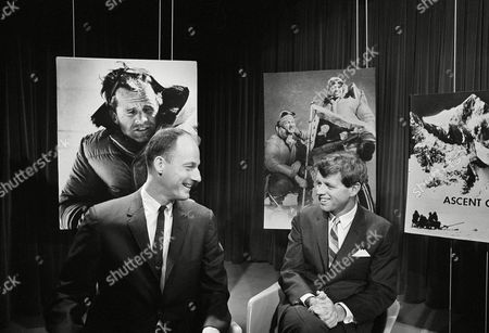 Sen. Robert Kennedy, D-N.Y., narrated the filmed story of his recent climb to summit of Mount Kennedy, at studios of American Broadcasting Company in Washington on . With him is James Whittaker of Seattle, left, who was one of the climbers with Kennedy
