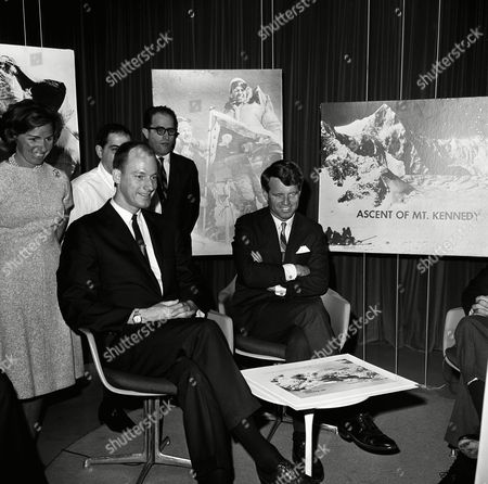 Sen. Robert Kennedy, D-N.Y., narrated the filmed story of his recent climb to summit of Mount Kennedy, at studios of American Broadcasting Company in Washington on . With him is James Whittaker of Seattle, who was one of the climbers with Kennedy. Behind Whittaker is Kennedy's wife, Ethel Kennedy