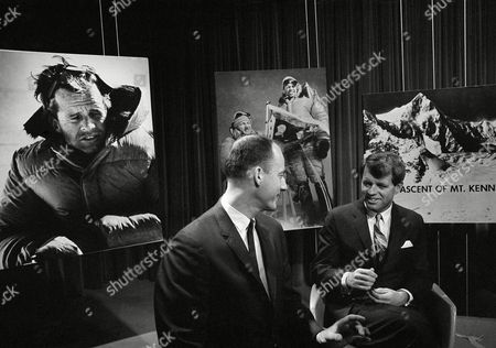 Sen. Robert Kennedy, D-N.Y., narrated the filmed story of his recent climb to summit of Mount Kennedy, at studios of American Broadcasting Company in Washington on . With him is James Whittaker of Seattle, who was one of the climbers with Kennedy