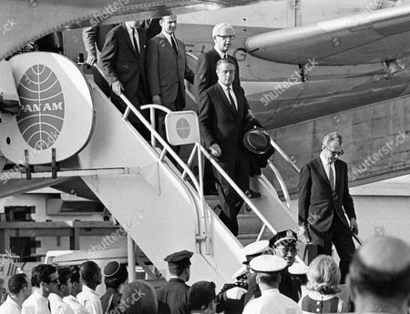 Sargent Shriver Robert Sargent Shriver, Jr., United States Ambassador to France and brother-in-law to the late senator Robert F. Kennedy, is pictured, at New York's John F. Kennedy International Airport as he arrived on a pan American Airways Jet clipper from Paris. He is here to attend the senator's funeral. At the airport to greet Ambassador Shriver was Arthur Goldburg (White Hair) retiring U.S. Ambassador to the United Nations