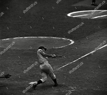 Roger Maris Yankee slugger Roger Maris has eyes focused sharply on ball, right, as he starts swing to connect for 56th homer of year in seventh inning at New York's Yankee Stadium . Catcher is John Romano of Cleveland Indians and umpire is Charlie Berry. Blow came off Cleveland right hander Jim Grant. Blow came in Yankees' 143rd game and put roger six games ahead of Babe Ruth's 1927 record homer pace