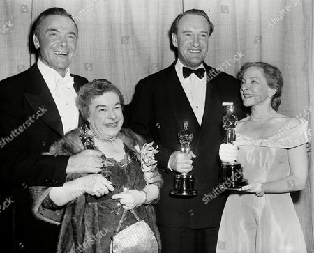"Jagger Hull Hayes Sanders From left to right: Dean Jagger, who made made the presentations, stands with actors Josephine Hull, who won the Academy Award for best supporting actress in ""Harvey;"" George Sanders, who won best supporting actor for ""All About Eve;"" and Helen Hayes who accepted an Oscar on behalf of Jose Ferrer, who won best actor for ""Cyrano de Bergerac"