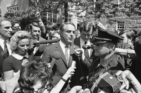 Stock Picture of Robert Sargent Shriver, Jr. Edward Kennedy, Ethel Kennedy Sargent Shriver, whose son and his nephew, Robert F. Kennedy Jr., both 16, were in court at Barnstable, Mass., on on charges of possession of marijuana, talks to press at courthouse. At right is U.S. Sen. Edward Kennedy, uncle of the two boys. Mrs. Ethel Kennedy, mother of the Kennedy youth, is at left. Sargent III, is at center rear