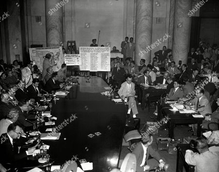 Joseph McCarthy Sen. Joseph McCarthy (R-Wis), extreme right, begins his testimony before senators inquiring into his dispute with Army officials . In background are maps and charts to which McCarthy referred. Seated at subcommittee table, from lower left comer: Sen. Potter (R-Mich)., Sen. Dirksen (R-Ill), Special Counsel Jenkins, Chairman Mundt (R-SD), Sen. McClenllan (D-Ark), Sen. Symington (D-Mo), Sen. Jackson (D-Wash), Assistant Army Counsel James St. Clair, Army Counsel Joseph Welch, and Lt. Col. John Murray