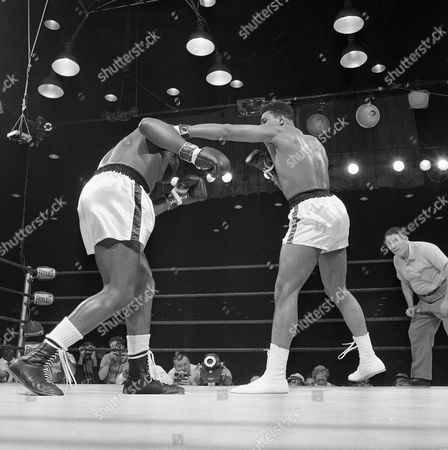 Editorial photo of Sonny Liston and Muhammad Ali Boxing, Miami Beach, USA