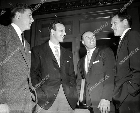 Stan Musial, Robin Roberts, Bob Friend, Eddie Yost Three baseball player representatives prepare for a meeting, in Colorado Springs with owners at the winter baseball conventions with a variety of proposals ranging from revision of the bonus rule to setting the salary minimum at $7,000 a year. Left to right: Bob Friend, Pittsburgh Pirates; Stan Musial, St. Louis Cardinals; Eddie Yost, Washington Senators; Robin Roberts, Philadelphia Phillies