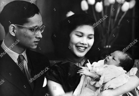 Thailand's baby Princess Ubol Ratana (diamond lotus) with her parents, King Bhumibol Adulyadej, 24, and Queen Sirikit, 19, on . The Princess was born at Lausanne, Switzerland on April 6- eleven months after the marriage and coronation of her parents in Bangkok