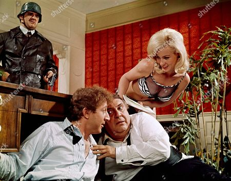"""Lee Meredith, upper right, and Kenneth Mars, upper left with Gene Wilder and Zero Mostel in a scene from the movie """"The Producers"""" July 1967"""