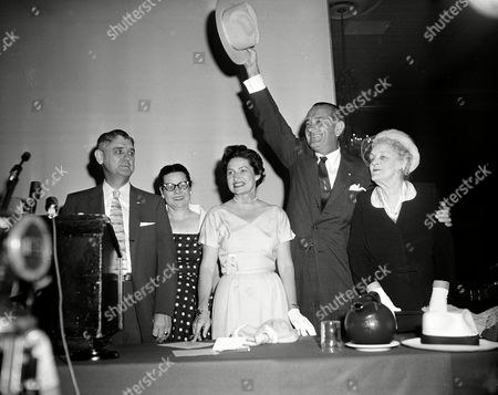 Johnson U.S. Sen. Lyndon B. Johnson acknowledges applause at a rally held in Dallas, Texas, . From left to right are, Byron Skelton, of Temple, Texas; Kathleen Voigt, San Antonio, executive secretary of the Democratic council; Ladybird Johnson; Sen. Johnson, and his mother, Rebekah B. Johnson