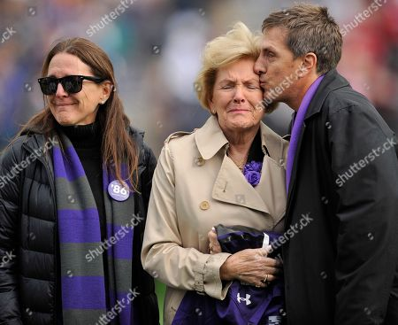 Garry Marshall, Barbara Marshall, Kathleen Marshall, Scott Marshall Television and movie director Garry Marshall's widow Barbara, center, gets a kiss from son Scott while daughter Kathleen looks on while Marshall, a Northwestern alumnus, was honored during an NCAA college football game between Northwestern and Indiana at Ryan Field, in Evanston, Ill