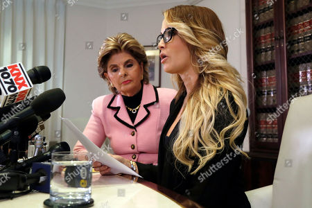 """Jessica Drake, Gloria Allred Jessica Drake speaks to reporters in Los Angeles, accompanied by her attorney, Gloria Allred. Drake, an adult film actress, said Donald Trump kissed her and two other women on the lips """"without asking for permission"""" when they met him after a golf tournament in 2006. Earlier in the day, the Republican presidential candidate pledged post-election lawsuits against every woman who has accused him of sexual assault or other inappropriate behavior"""