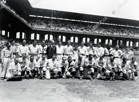 AMERICAN LEAGUE POSES The American League team poses before the first major league All-Star Game in Chicago, July, 6, 1933. The American League won 4-2. Front row, from left: Al Schact, Eddie Collins, Tony Lazzeri, General Crowder, Foxx Fletcher, Earl Averill, Ed Rommel, Ben Chapman, Rick Ferrell, Sam West, Charlie Gehringer, bat boy. Back row, from left: bat boy, unidentified team member, Lou Gehrig, Babe Ruth, Oral Hildebrand, Connie Mack, Joe Cronin, Lefty grove, bat boy, Bill Dickey, Al Simmons, Lefty Gomez, Wes Ferrell, Jimmy Dykes, club boy