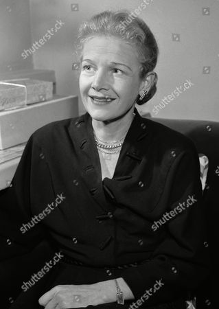 "Ann Harding, third film star to have the leading role in ""Goodbye, My Fancy,"" Broadway hit show, in her dressing room in New York preparing for a road tour with the show on Dec.16,1949 in New York"