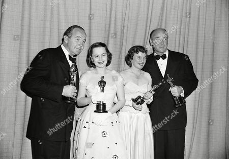 Winners of the top award in the Academy Oscar presentation make a happy group on in Hollywood. Left to right are: Broderick Crawford, best actor; Olivia De Havilland, best supporting actress; Mercedes McCambridge, best supporting actress; and Dean Jagger, best supporting actor