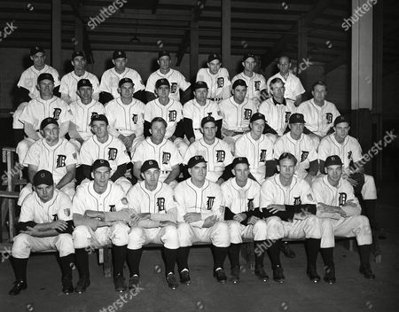 """This is the latest official team picture of the Detroit Tigers of 1944, shown . Front row, left to right: Frank Overmire, Hal Newhouser, Art Mills, Steve O'Neill, Al Vincent, Paul Trout, Rufe Gentry. Second row, left to right: James Miller, Ed Borow, Jim Outlaw, Bob Swift, John McHale, Ed Mayo, Dick Wakefield. Third row, left to right: Walter Beck, Charles Hostetler, Pinky Higgins, Paul Richards, Roy Henshaw, Joe Orengo, Don Ross, Rudy York. Back row, left to right: John Gorsica, Bob Hoover, Roger Cramer, J.T. Mooty, Art Houtteman, Zeb Eaton, trainer Ray """"Doc"""" Forsyth"""