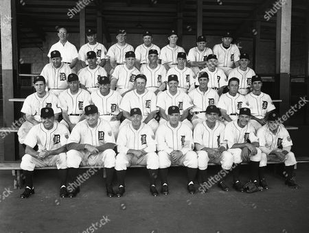 This is the official team picture of the Detroit Tigers, leaders of the American League by one game over the Washington Senators, shown . Front row, left to right: Eddie Mayo, Al Benton, Art Mills, Steve O'Neill, Paul Richards, Hal Newhouser, Frank Overmire. Second row, left to right: Bob Swift, Roger Cramer, Hubby Walker, Rudy York, Roy Cullenbine, Hank Greenberg, Jim Outlaw, Joe Hoover. Third row, left to right: Jim Tobin, Chuck Hostetler, Russell Kern, Walter Wilson, Skeeter Webb, Bob Maier, Ed Borom. Top row, left to right: Raymond Forsyth, George Caster, Leslie Munro, James Miller, Zeb Eaton, Art Houtteman, Paul Trout, James Miller, Zeb Eaton