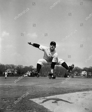 """George Stirnweiss George Stirnweiss, who hit .268 for Newark, N.J., in 144 games, stabs a line drive at the New York Yankees training grounds at Asbury Park, New Jersey on . Stirnweiss, whose home is in Kent, Conn., is expected to open the season at third base for the Yankees, taking over for """"Red"""" Rolfe, now a Yale Coach"""