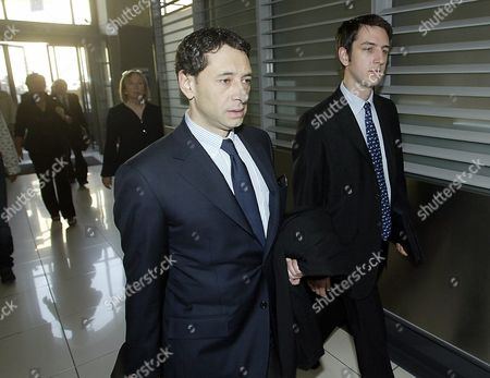 Stock Photo of The Earl's son and heir, Nicholas Ashley-Cooper, 27, the 12th Earl of Shaftesbury (right) arriving at the Nice courthouse