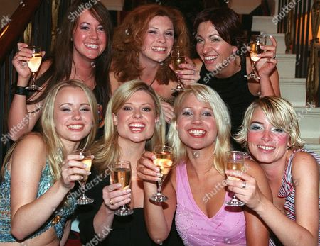 'Rich and Famous' - 2001 Pictured:  (L-R Back) Sheree Murphy Samantha Giles, Freya Copeland. (L-R Front) Nicola Wheeler, Emily Symons, Malandra Burrows, Emma Atkins.
