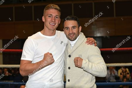 Nick Blackwell (L) and Lee Haskins pose for a photo during a Boxing Show at the Riviera International Centre on 22nd October 2016
