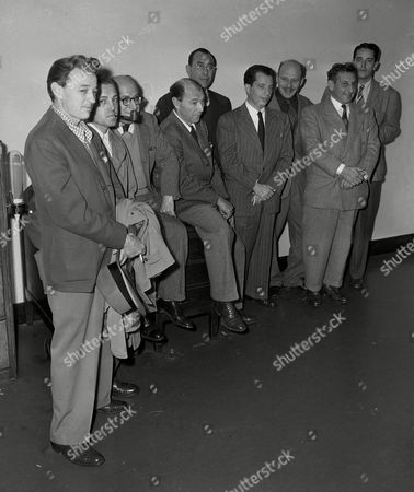 Scott Dmytryk Ornitz Cole Maltz Nine of the ten Hollywood writers, directors and producers, indicted by a Washington, D.C., grand jury on charges of contempt of Congress, surrender at the U.S. Marshal's office in Los Angeles, . From left to right: Robert Adrian Scott, Edward Dmytryk, Samuel Ornitz, Lester Cole, Herbert Biberman, Albert Maltz, Alvah Bessie, John Howard Lawson, Ring Lardner, Jr. The tenth, Dalton Trumbo, sent word he would surrender on the following day