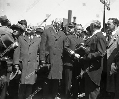 Richard Byrd, James Curley, Frederick Mansfield Rear Admiral Richard E. Byrd, center, South Pole explorer, as he was welcomed at the Charlestown, Massachusetts navy yards on by Governor James M. Curley, right, and Mayor Frederick Mansfield of Boston