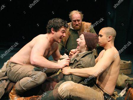 Daniel Percival (Arviragus), Ryan Ellsworth (Belarius), Jodie McNee (Imogen) and John Macmillan (Guideruis)