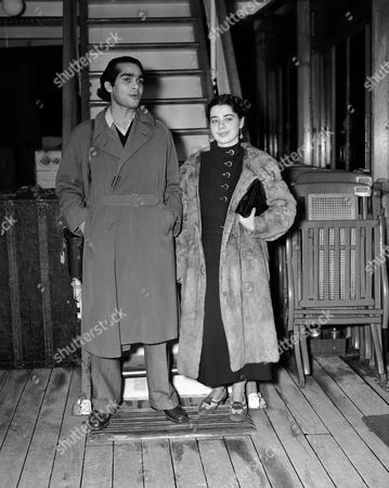 Aboard the liner Lafayette are Uday Shankar, Hindu dancer, and his partner, Simkie of Paris, as they arrived in New York