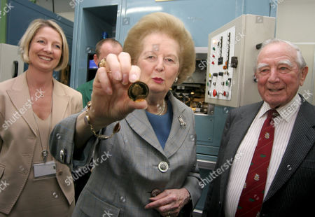 Editorial image of Margaret Thatcher at the first striking of legal tender coins for the Falkland Islands, Pobjoy Mint, Kingswood, Surrey, Britain - 31 May 2007