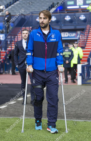 Niko Kranjcar of Rangers, limps on crutches  before the Betfred Cup semi-final between Rangers & Celtic at Hampden Park, Glasgow on 23rd October