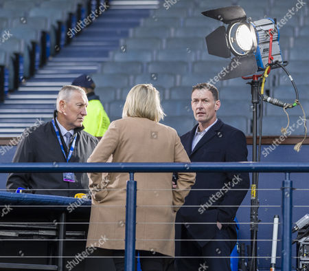 Former Rangers player Terry Butcher & former Celtic player Chris Sutton, both now BT Sport pundits photographed before the Betfred Cup semi-final between Rangers & Celtic at Hampden Park, Glasgow on 23rd October