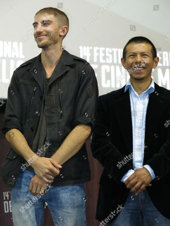 """Stock Photo of Actor Evan LaMagna, left, and actor Hansel Ramirez listen to questions of the public after a screening of the film """"Minezota"""" at the Morelia Film Festival in Morelia, Mexico. The film, shot primarily at the suburban municipailty of Nezahualcoyotl, Mexico, presents the end of the romance of a Depeche Mode fan and his girlfriend after their encounter with two Mormons"""