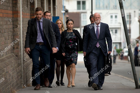 Former Chelsea team doctor Eva Carneiro, centre, arrives at the Croydon Employment Tribunal in Croydon, south London, . Carneiro is claiming constructive dismissal against the Premier League club FC Chelsea. Jose Mourinho will be expected to testify at an employment tribunal about his public clash with Chelsea's club doctor after she rejected more than $1.5 million to settle the case