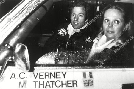 KK342 Mark Thatcher, son of British Prime Minister Margaret Thatcher, sits alongside his French co-driver Charlotte Verney in their Peugot 504 car, prior to competing in the Paris Dakar Rally, Paris, France, 1982. Thatcher, Verney and their mechanic, went on to break down during the rally, and were stranded in the Sahara Desert for six days before being found