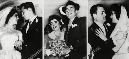 British actress Elizabeth Taylor is pictured with three of her husbands. Left, in 1950 leaving a church in Beverly Hills, Ca., with 1st husband Conrad Hilton Jnr, known as Nick. Centre, in 1952 after a register office ceremony in London with 2nd husband Michael Wilding. Right, in 1957 with 3rd husband Mike Todd after their wedding in Acapulco, Mexico