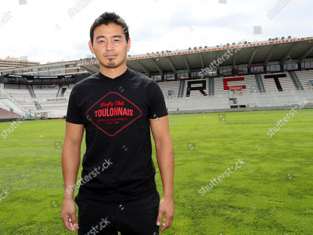 Japan's rugby player Ayumu Goromaru pauses at the Mayol stadium of Toulon, southern France, . The 30-year-old signed to Toulon on a one-year contract with a 12 month extension as an option