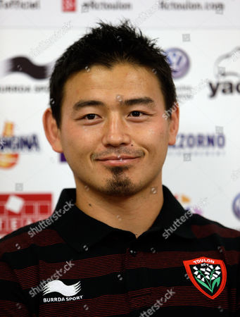 Japan's rugby player Ayumu Goromaru poses during a press conference at the Mayol stadium of Toulon, southern France, . The 30-year-old signed to Toulon on a one-year contract with a 12 month extension as an option