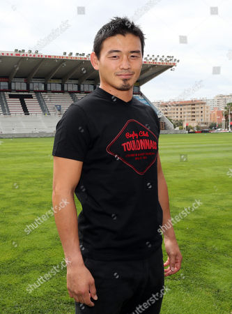 Japan's rugby player Ayumu Goromaru poses at the Mayol stadium of Toulon, southern France, . The 30-year-old signed to Toulon on a one-year contract with a 12 month extension as an option