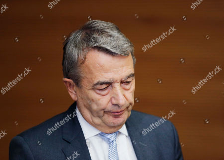 Then President of German soccer federation Wolfgang Niersbach announces during a news conference that he steps back from his post as president in Frankfurt, Germany. FIFA Council member Wolfgang Niersbach receives 1-year ban in 2006 World Cup investigation as it was announced