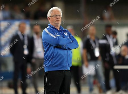 Finland coach Hans Backe follows the game during the international friendly soccer match between Italy and Finland, at the Bentegodi stadium in Verona, Italy