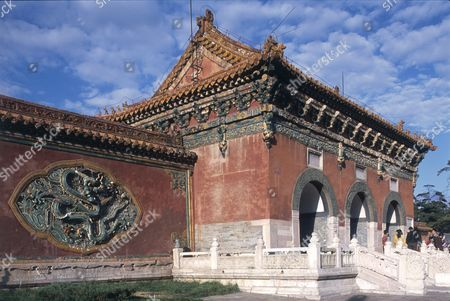 Editorial photo of China, Liaoning, Shenyang, Beiling Gongyuan, Bei Ling (North Tomb), tilework imperial dragon screen on exterior wall of largest and best-preserved mausoleums housing tomb of Abahai